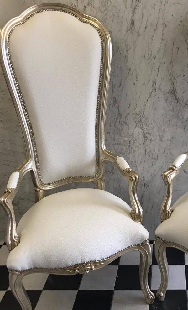 High Back Silver Armchair