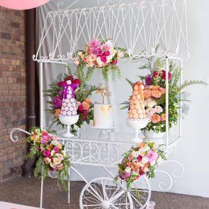 White Metal Candy Cart
