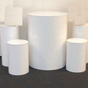 White Round Plinths S/5