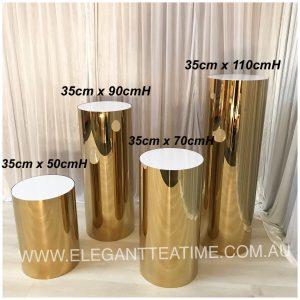 Gold Round Plinth 110cm