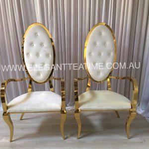 Regal Gloss Gold & White Chairs Pair
